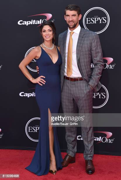 Olympic swimmer Michael Phelps and model Nicole Johnson arrive at the 2017 ESPYS at Microsoft Theater on July 12 2017 in Los Angeles California