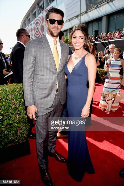 Olympic swimmer Michael Phelps and model Nicole Johnson attend The 2017 ESPYS at Microsoft Theater on July 12 2017 in Los Angeles California