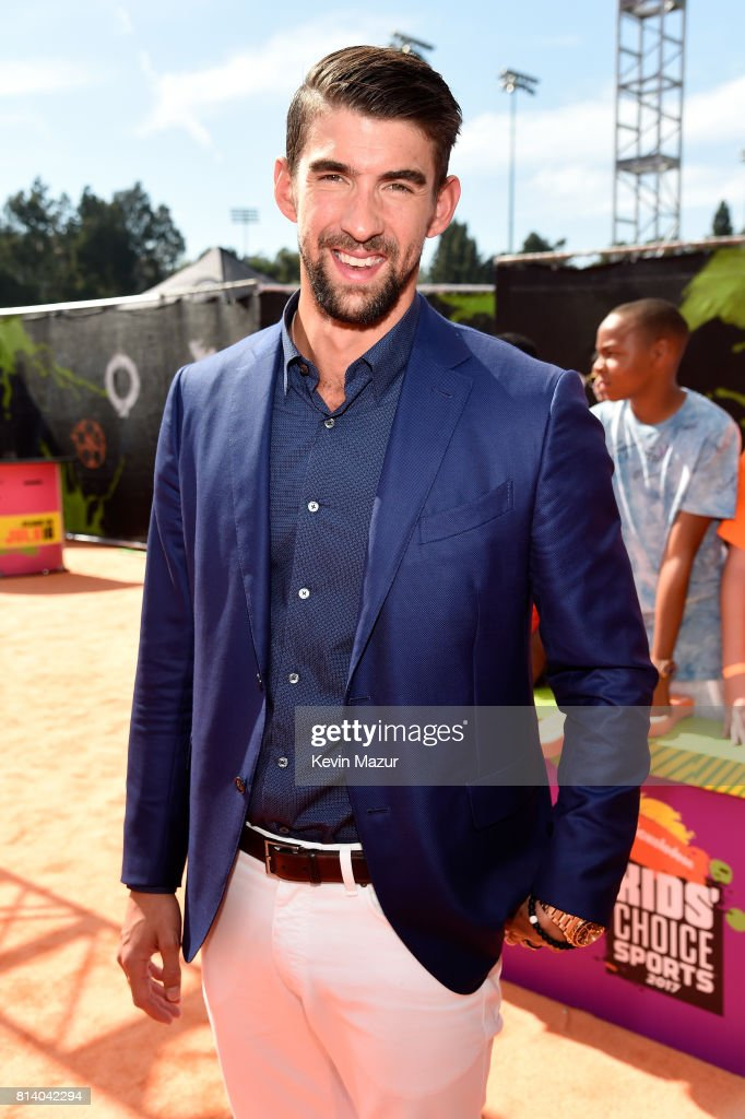 Olympic swimmer Michael Phelps attends Nickelodeon Kids' Choice Sports Awards 2017 at Pauley Pavilion on July 13, 2017 in Los Angeles, California.