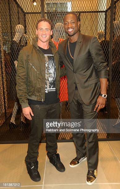 Olympic Swimmer Ryan Lochte and basketball player Dwyane Wade celebrate Fashion's Night Out at Calvin Klein Boutique on September 6 2012 in New York...