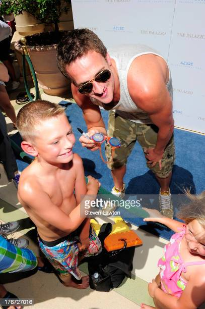 Olympic swimmer Ryan Lochte arrives at the Azure pool at The Palazzo Las Vegas on August 17 2013 in Las Vegas Nevada