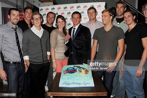 US Olympic Swimmer Ryan Lochte celebrates his 28th birthday with US Olympic Swim Team members Davis Tarwater Conor Dwyer Tyler McGill Brendan Hansen...