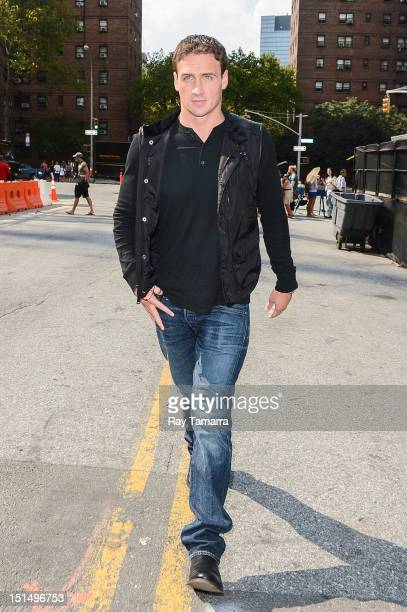 Olympic swimmer Ryan Lochte enters the MercedesBenz Fashion Week at The Theatre at Lincoln Center on September 7 2012 in New York City