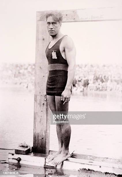 Olympic swimming champion Duke Paoa Kahanamoku of the USA at the Summer Games in Antwerp circa August 1920 where he won the 100 metres freestyle...
