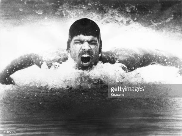 Olympic swimming gold medal winner Mark Spitz in action during a training session