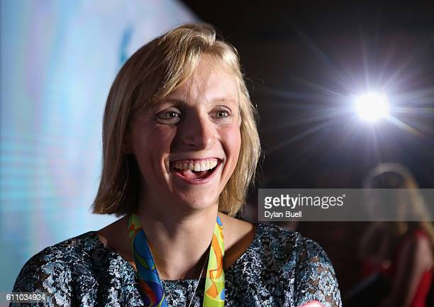 Olympic swimming medalist Katie Ledecky speaks with media after the Team USA Awards presented by Dow, Best of the Games at McDonough Gymnasium on...