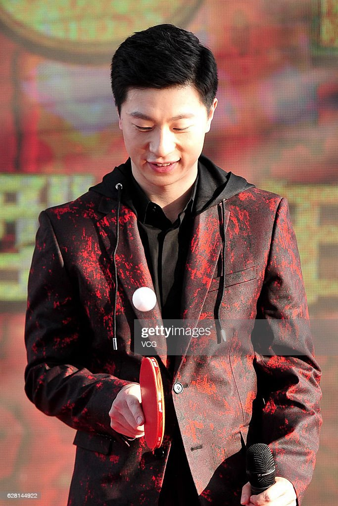Olympic table tennis champion Ma Long attends the press conference of Beijing TV's new year eve activities on December 6, 2016 in Beijing, China.