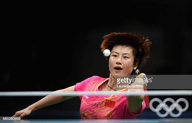 Olympic Table Tennis player Ning Ding of China practices at Riocentro Pavilion on August 2, 2016 in Rio de Janeiro, Brazil.