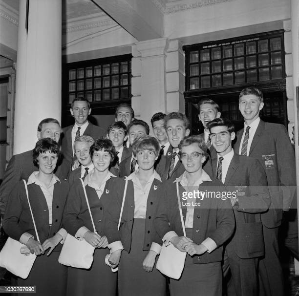 Olympic Team leave for Summer Olympics in Tokyo UK 28th September 1964 they are John Boulter John Sherwood Alan Simpson Adrian Metcalfe John Whetton...