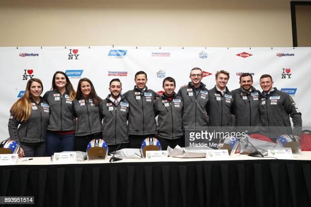 Olympic team nominees from left Erin Hamlin Summer Britcher Emily Sweeney Jayson Terdiman Matt Mortensen Andrew Sherk Justin Krewson Tucker West...