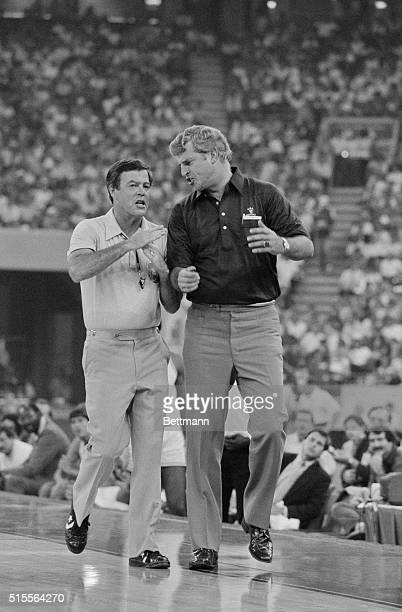 Olympic Team vs. All-Stars. Indianapolis, Indiana: Olympic head coach Bobby Knight gets a technical called on him late in the game, July 9, between...