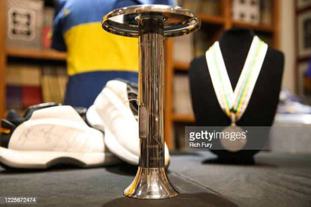 Olympic torch is displayed at a press preview for sports legends featuring Kobe Bryant, FIFA and Olympic Medals at Julien's Auctions on May 18, 2020...