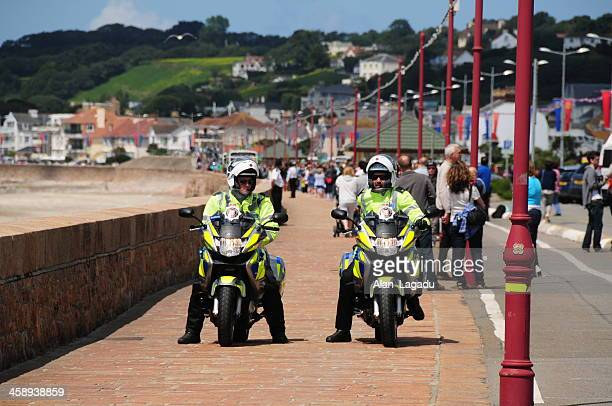 olympic torch procession 2012, jersey. - jersey england stock photos and pictures