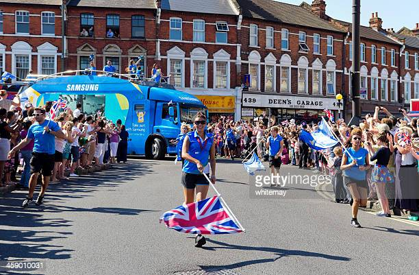 olympic torch relay - samsung cheer-leaders - candid cheerleaders stock photos and pictures