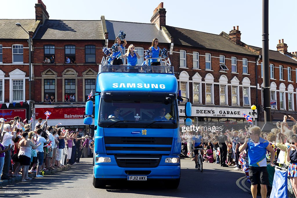 Olympic Torch Relay - Samsung vehicle : Stock Photo