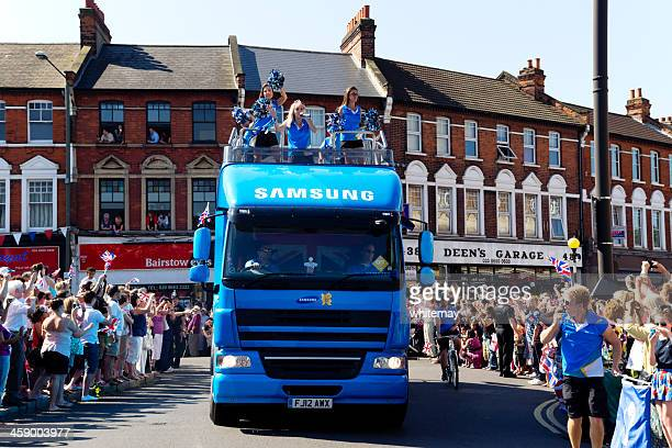 olympic torch relay - samsung vehicle - candid cheerleaders stock photos and pictures