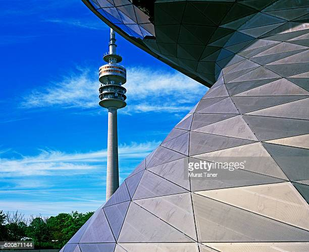 olympic tower and bmw world in munich - bmw stock pictures, royalty-free photos & images