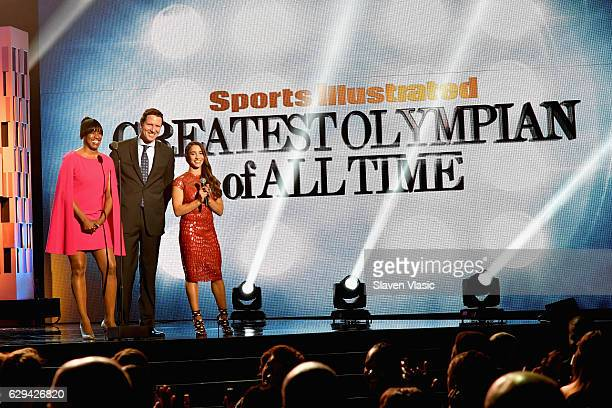 Olympic Track and Field athlete Jackie Joyner-Kersee, swimmer Tom Dolan and Olympic Gymnast Aly Raisman speak onstage the Sports Illustrated...