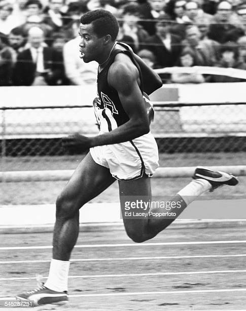 US Olympic track and field athlete Lee Evans during a 400m race August 12th 1967