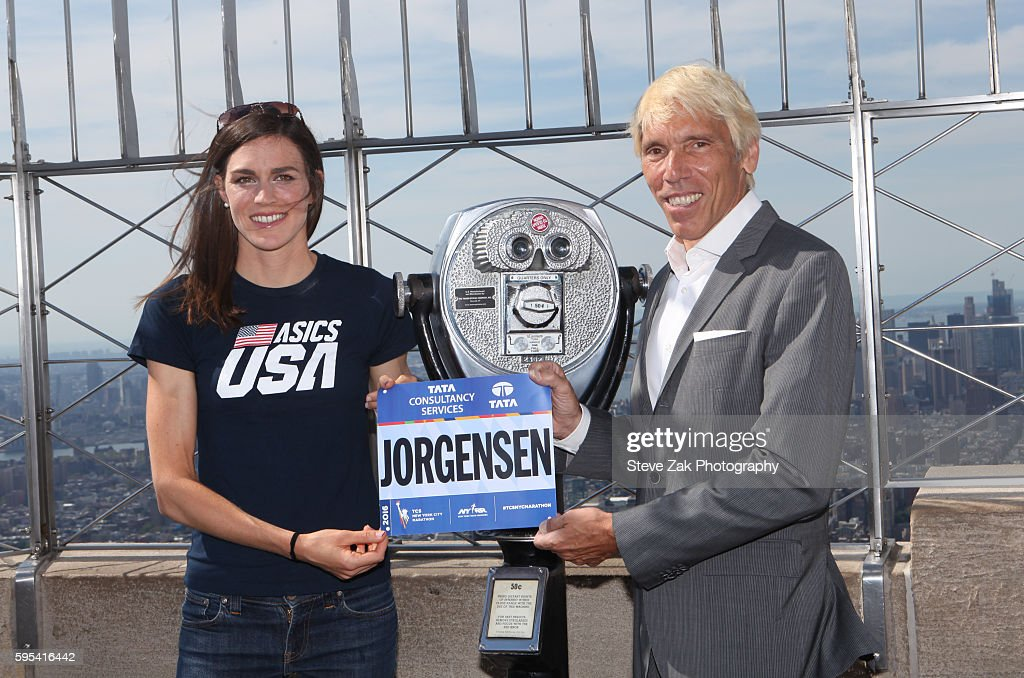 2016 Olympic Triathlon Gold Medalist Gwen Jorgensen Visits The Empire State Building : News Photo