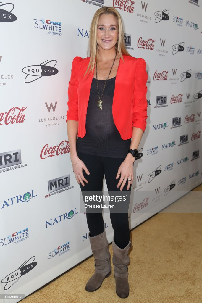Olympic volleyball player Kerri Lee Walsh Jennings arrives at CW3PR Presents the inaugural 'Gold Meets Golden' event at New Equinox Flagship on January 12, 2013 in Los Angeles, California.