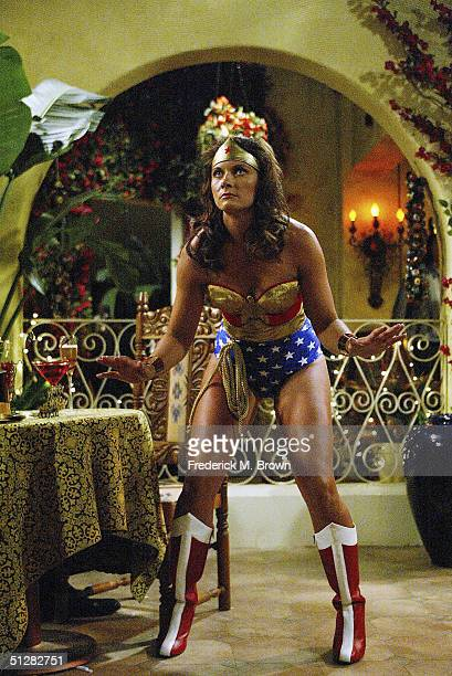 Olympic Vollyball Gold Medal winner Misty May made her acting debut as Wonder Woman during tapeing of the Eve television show on September 9 2004 in...
