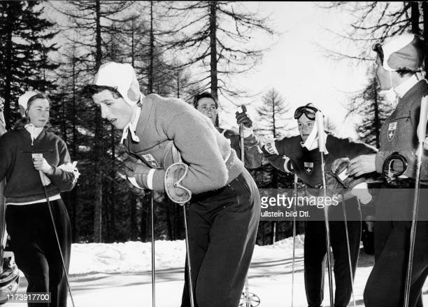 Olympic Winter games in Cortina d'Ampezzo 1956 Swiss team training