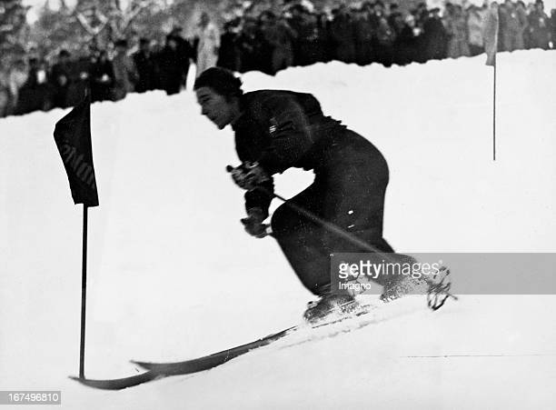 Olympic Winter Games in GarmischPartenkirchen in 1936 gold medalist Christl Cranz at the Alpine combined on the track 8th February 1936 Photograph...