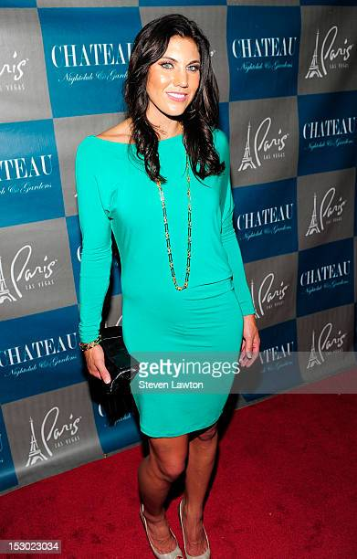 Olympic womens soccer gold medalist Hope Solo arrives for a night at the Chateau Nightclub Gardens at the Paris Las Vegas on September 28 2012 in Las...