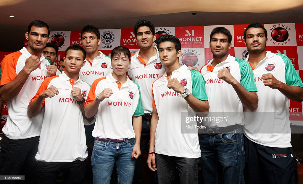 Olympic-bound Indian boxers at a send-off ceremony : News Photo