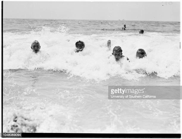 Olympics 13 August 1949 At Sorrento BeachCaption slip reads 'Photographer Rustan Date Assignment Beach Olympics Body Surfing Contest 65 Chuck...