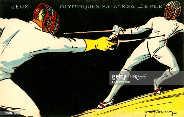 Olympics 1924 Paris France. Sword fighting championships. Jeux Olympiques