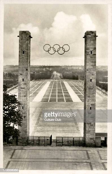 Olympics 1936 Berlin Germany View of Reichssportfeld through the East Gate Main entrance showing Olympics symbol of interlinking Olympic Rings