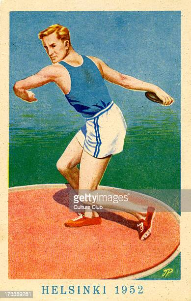 Olympics 1952 Helsinki Finland Poster of Discus throw