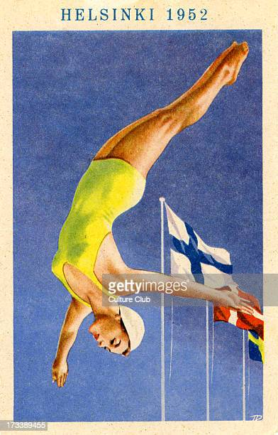 Olympics 1952 Helsinki Finland Poster of female diver