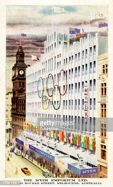 Olympics 1956 Melbourne Australia. Myer Emporium with Olympic symbol of interlinking rings in front of the department store.