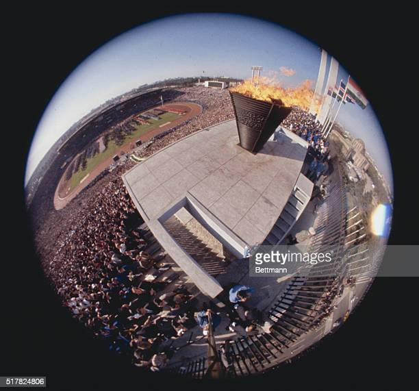 """Olympics 1964. Japan, Tokyo: """"Fisheye"""" view of the Olympic Fame."""