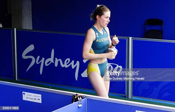Olympics 2000 Homebush Sydney Womens 20k Walk Australia's Jane Saville after being disqualified as she was entering the stadium She was in the lead...