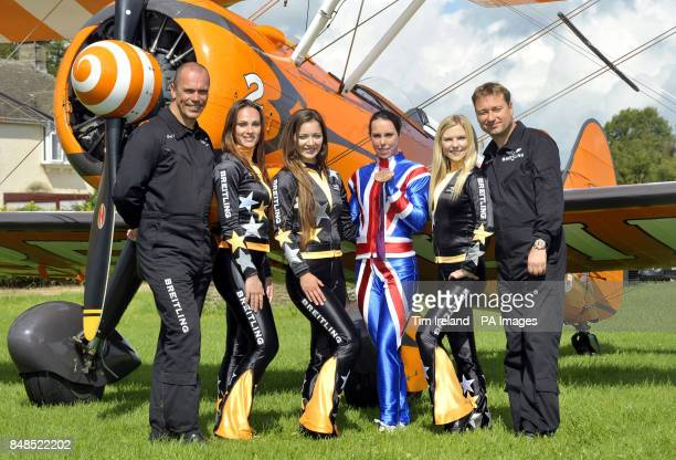 Olympics Bronze medalist Beth Tweddle after wingwalking with the Breitling team pilot David Barrell Sarah Tanner Danielle Hugues Freya Paterson and...
