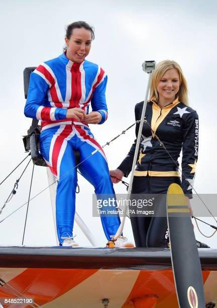 Olympics Bronze medalist Beth Tweddle is instructed by Freya Paterson as she prepares to go wingwalking with the Breitling team at RFC Rendcomb...