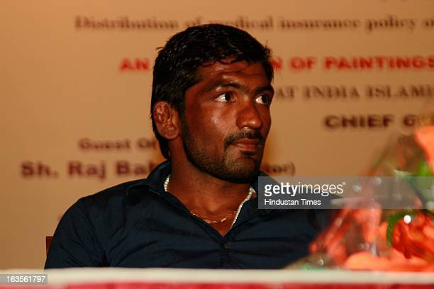 Olympics bronze medalist Yogeshwar Dutt during Wings Of Hope exhibition of paintings of present and past Jail inmates organized by Sidhartha...