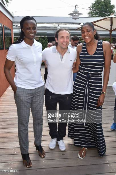 Olympics Champions Eunice Barber Philippe Candeloro and and MarieJose Perec attend the 2017 French Tennis Open Day Five at Roland Garros on June 1...