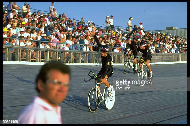 Cycling Track Trials Men's 400 Finals Team Pursuit Skittles in action