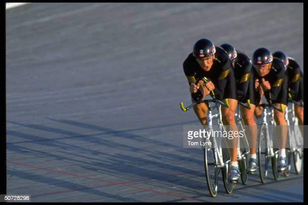 Cycling Track Trials Men's finals Team pursuit skittles winning in action winning 1st place