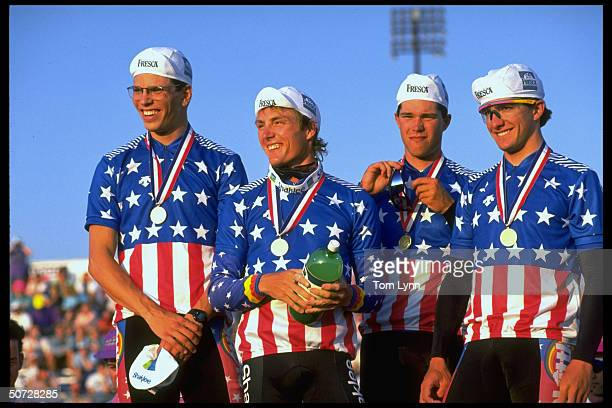Cycling Track Trials Men's finals Team Pursuit Skittles wins 1st place portraits w medals