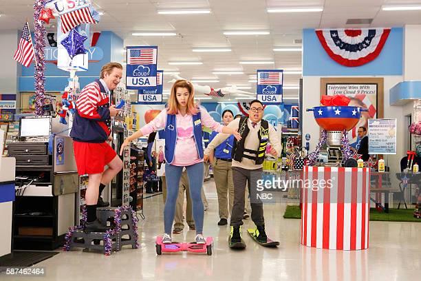 SUPERSTORE 'Olympics' Episode 201 Pictured Mark McKinney as Glenn Nichole Bloom as Cheyenne Lauren Ash as Dina Nico Santos as Mateo