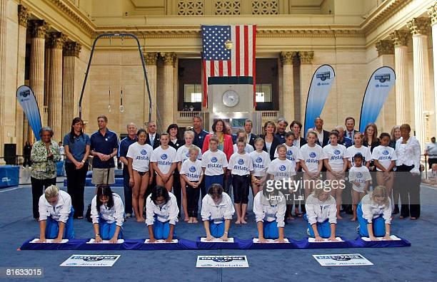 1996 Olympics gymnastics gold medalists Amanda Borden Amy Chow Dominique Dawes Shannon Miller Dominique Moceanu Jaycie Phelps and Kerri Strug cast...