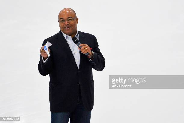 Olympics host Mike Tirico speaks to a crowd during the Team USA Media Summit demo event on September 25, 2017 in Park City, Utah.