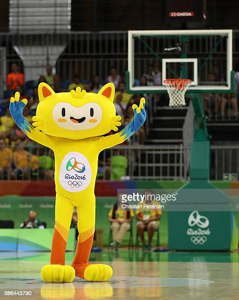 Olympics mascot Vinícius performs during a Women's Basketball Preliminary Round game between Australia and Brazil on Day 1 of the Rio 2016 Olympic...