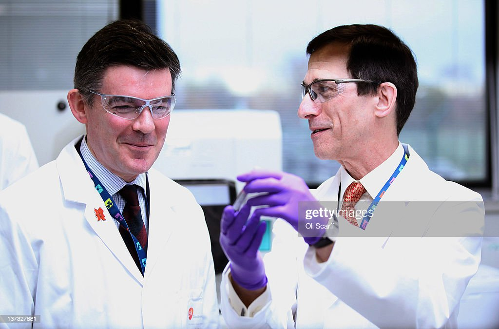 Olympics minister Hugh Robertson (L) is shown a vial of blood by Professor David Cowan, the Head of Science for London 2012 and Director of King's College London's Drug Control Centre, in the anti-doping laboratory which will test athlete's samples from the London 2012 Games on January 19, 2012 in Harlow, England. The facility, which will be provided by GSK and operated by King's College London, will test over 6250 samples throughout the Olympic and Paralympic Games. Over 150 anti-doping scientists will work in the laboratory, which measures the size of seven tennis courts, 24 hours a day.